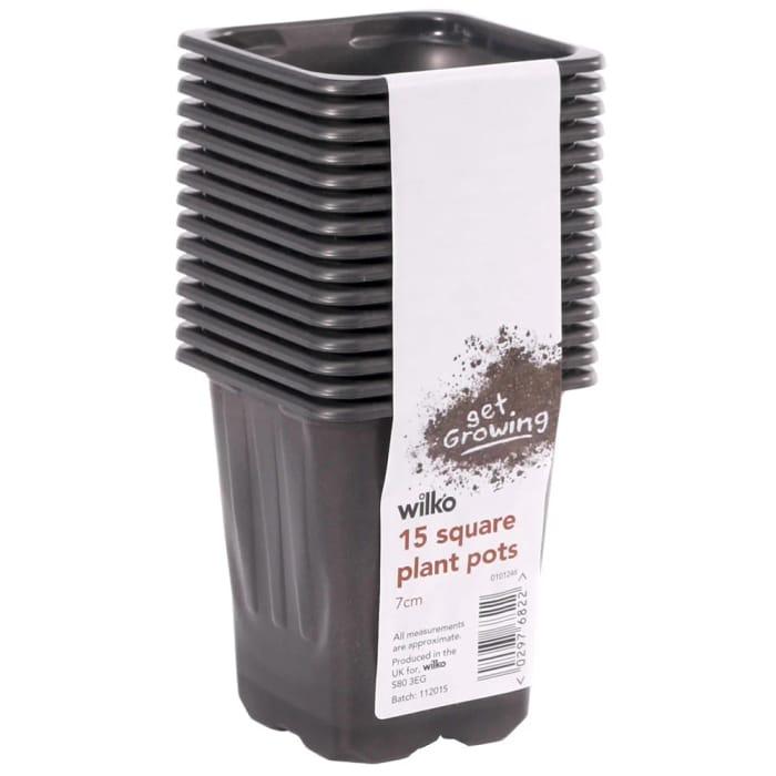 Wilko 15 Pack Black Square Plastic Plant Pot 7cm