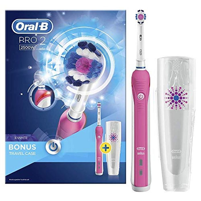Oral-B Pro 2 2500 3D White Electric Rechargeable Toothbrush, Pink Handle