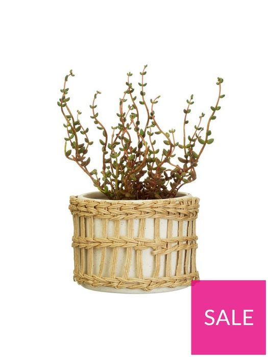 50% Off Sass & Belle Speckled White & Woven Planter