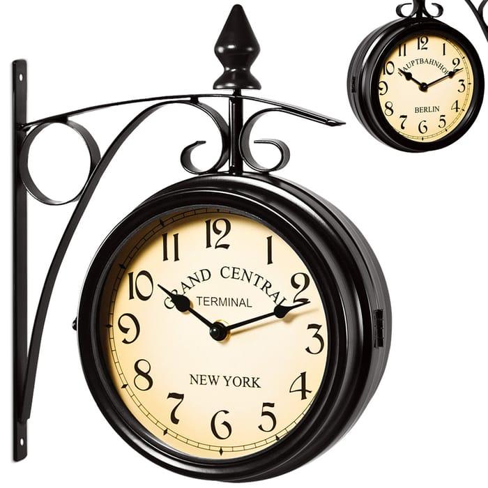 Train Station Wall Clock - Black - Vintage Design Only £20.99