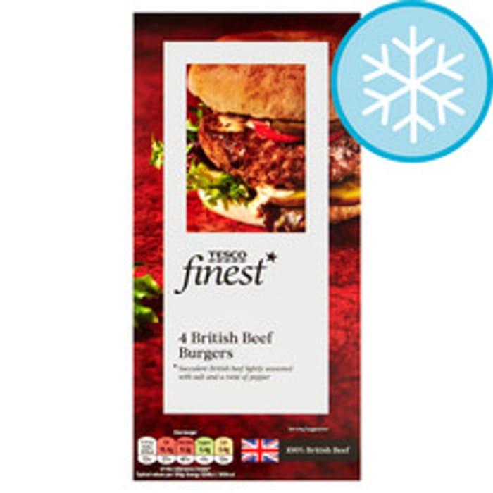 Tesco Finest 4 Aberdeen Angus Beef Burgers 454G