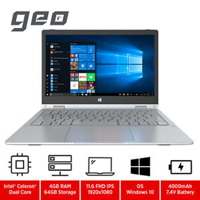 """GeoFlex 11.6"""" 2-in-1 Convertible Laptop with Touchscreen Intel Celeron 64GB eMMC"""