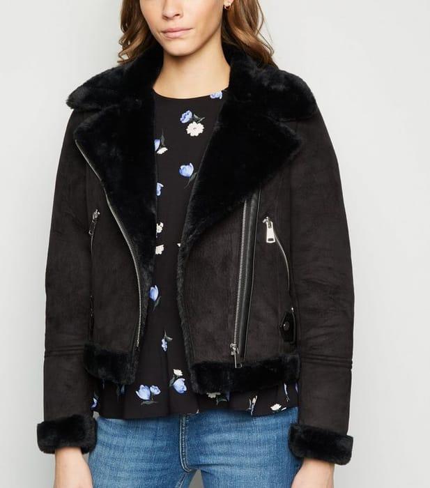 Black Faux Fur Crop Aviator Jacket