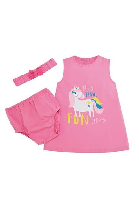 Baby Girls 3-Piece Unicorn Shift Dress Set