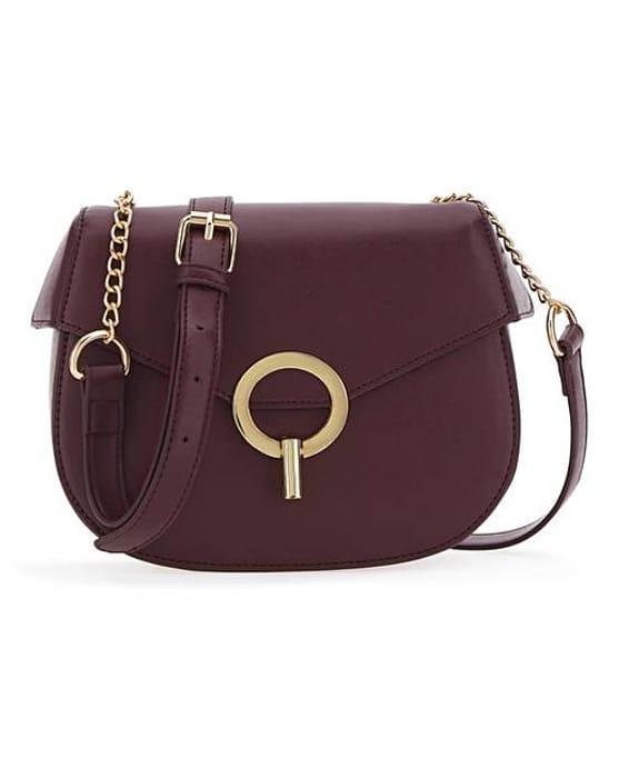 Saddle Ring Detail Burgundy Bag