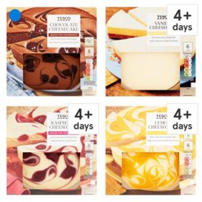 Special Offer! Tesco Cheesecake 540G Vanilla, Raspberry, Lemon or Chocolate