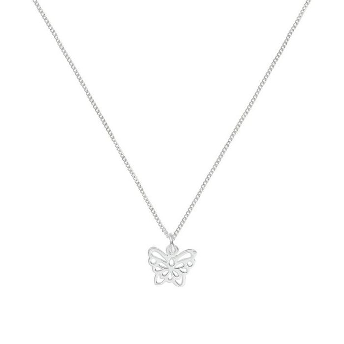 Revere Silver Filigree Butterfly Pendant 18 Inch Necklace