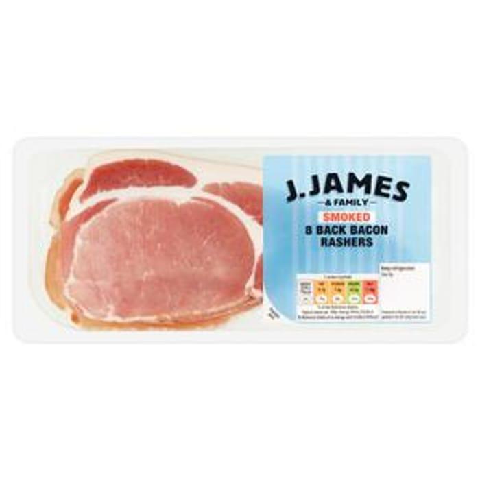 J.James & Family Smoked Back Bacon Rashers X8 200g & Unsmoked (Price Lockdown)