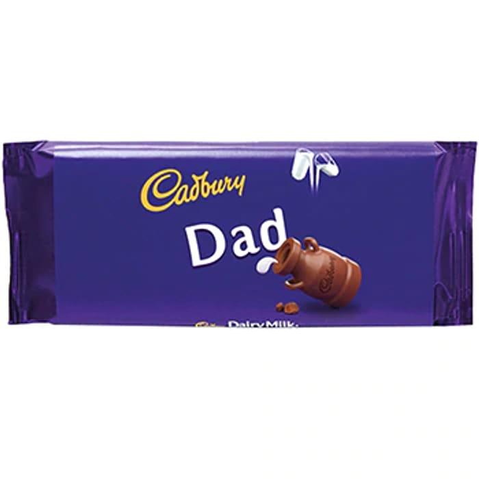 Father's Day gift Cadbury Dairy Milk Chocolate Bar - Dad (2 for £8)