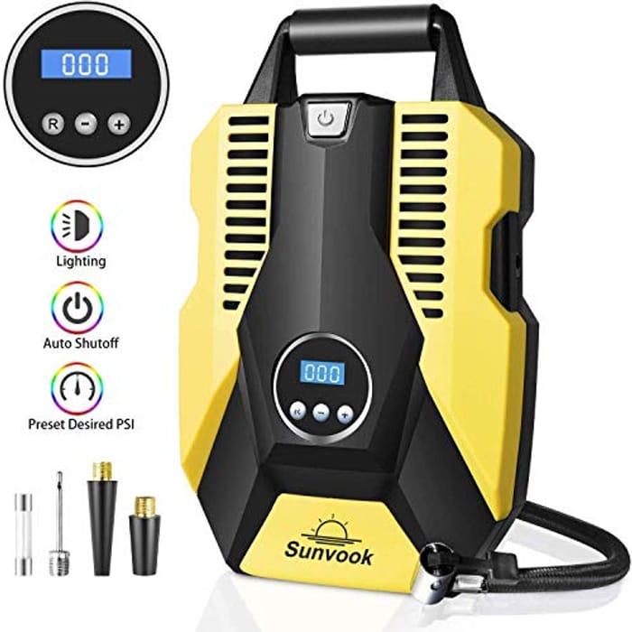 Sunvook Tyre Inflator, Digital Tyre Pump Air Compressor
