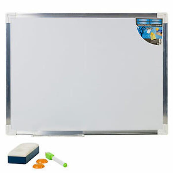 600 X450mm Aluminium Frame Magnetic Dry Wipe Whiteboard + Marker Eraser & Magnet