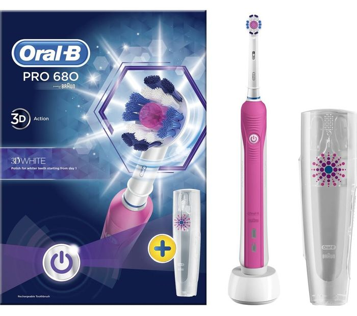 *SAVE over £8* ORAL B 3D White Electric Toothbrush - Pink