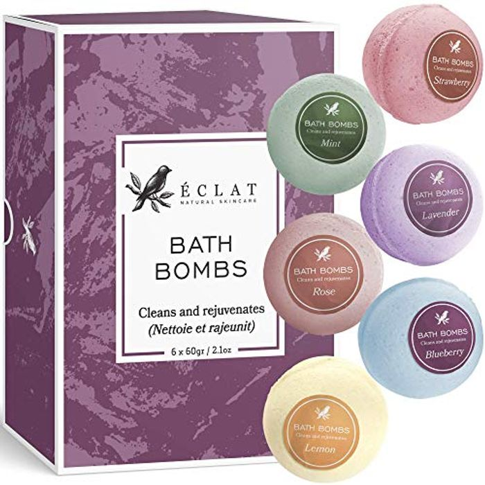 Best Price! Bath Bombs Gift Set by Eclat -Natural & Organic 6 Piece Aromatic Kit