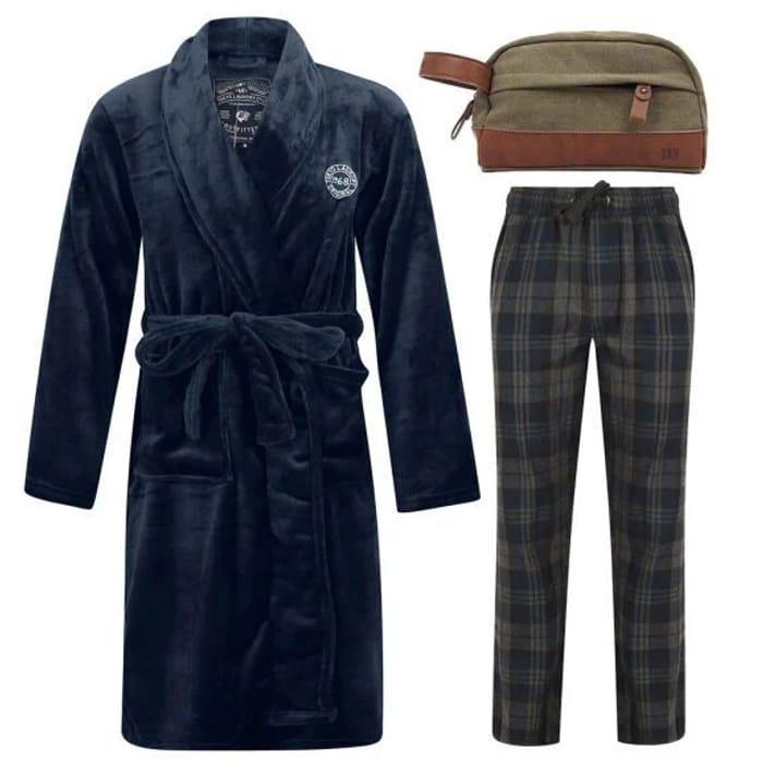 Men's Dressing Gown + Lounge Pants + Wash Bag for £20