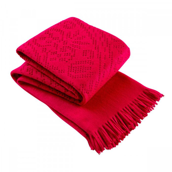 Christy Lace Throw Raspberry