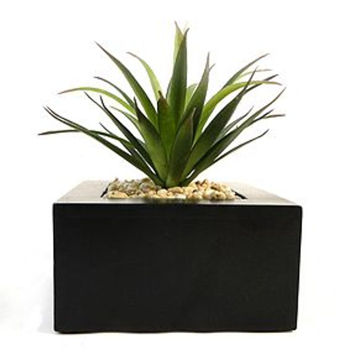 Artificial Succulent Green in Black Pot 15cm