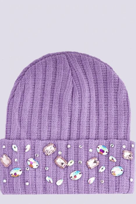Cheap Lilac Gem Embellished Beanie Hat - Only £1.5!