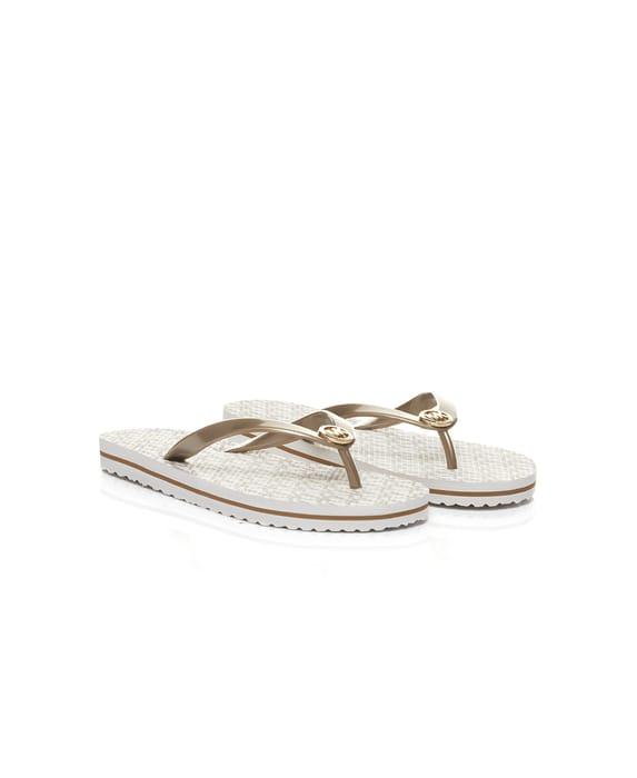 Michael Kors Vanilla Stripe Eva Flip Flops