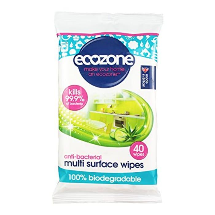 Ecozone Anti-Bacterial Multi Surface Biodegradable Wipes 40 per Pack