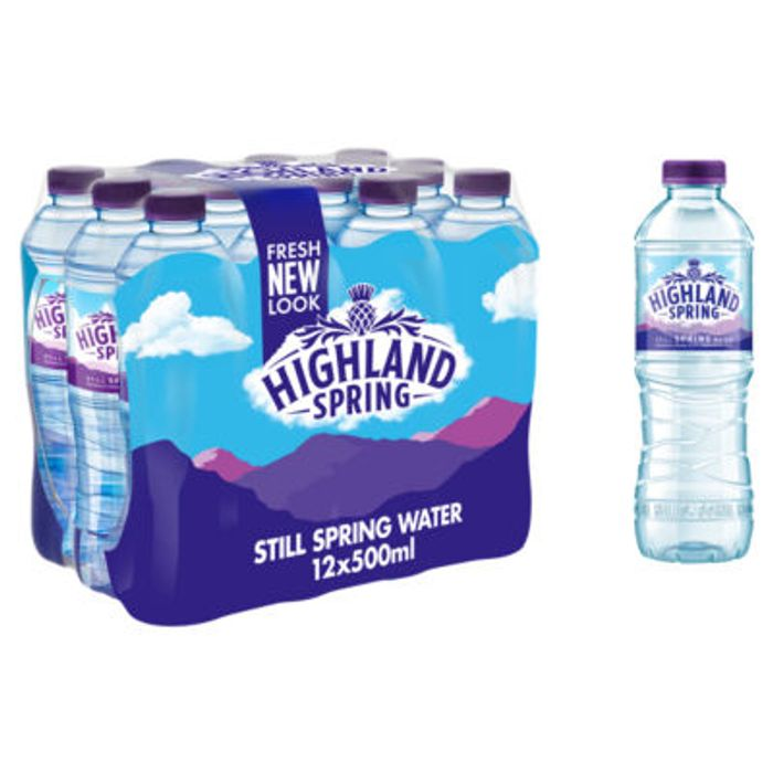 Highland Spring Still Spring Water Bottles Family Pack 12x500