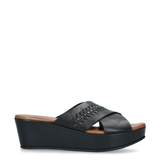 Nine West - Black 'Rival' Flatform Sliders ( Size 6 )