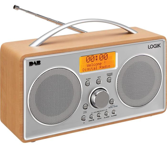*SAVE £15* LOGIK Portable DAB+/FM Radio - Silver & Wood