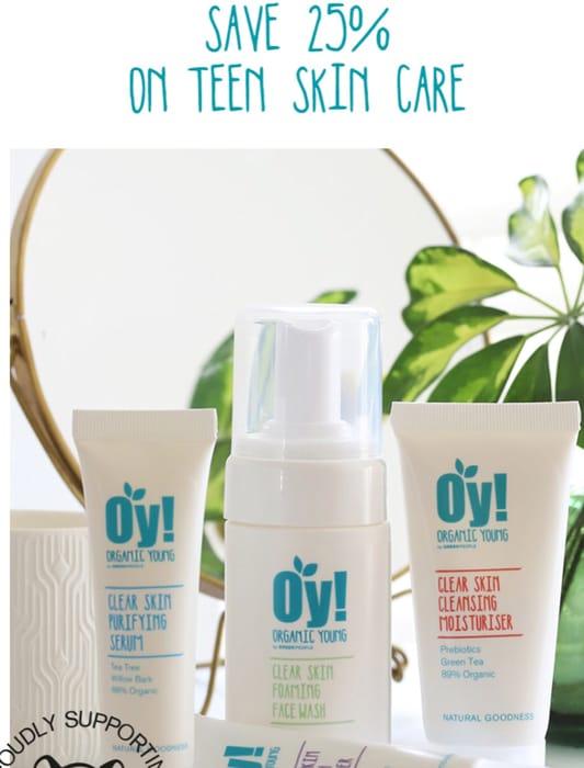 25% off Teen Organic Teen Skin Care