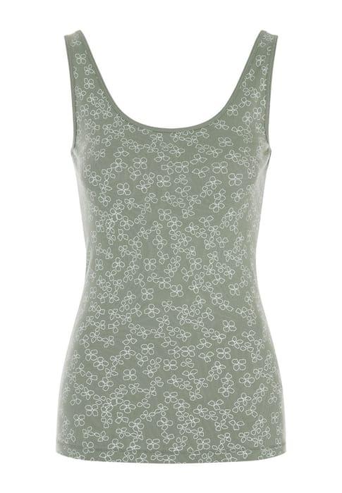 Cheap Womens Khaki Floral Ribbed Vest Top - Save £2!