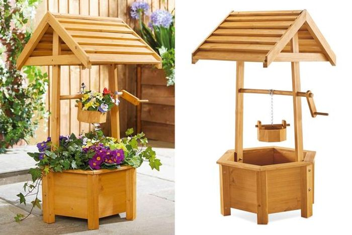 *SAVE over £58* Wooden Wishing Well Planter