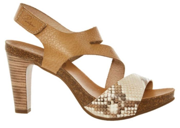 PENELOPE COLLECTION Brown Grained Leather Heeled Sandals