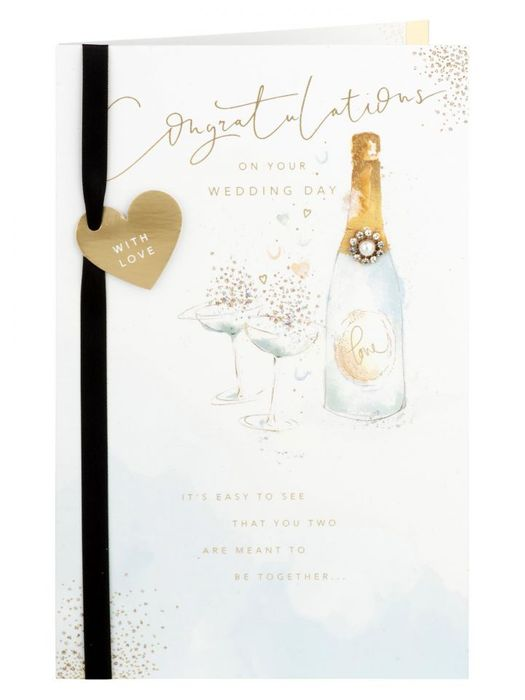 Champagne Bottle with Embellishment Wedding Card