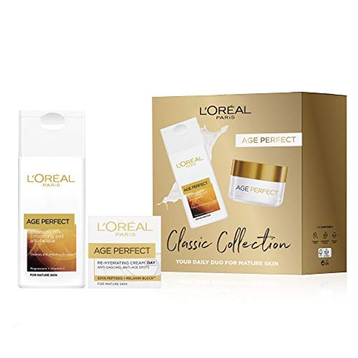 L'Oreal Paris Gift Set for Her by Age Perfect, Cleanser & Day Cream