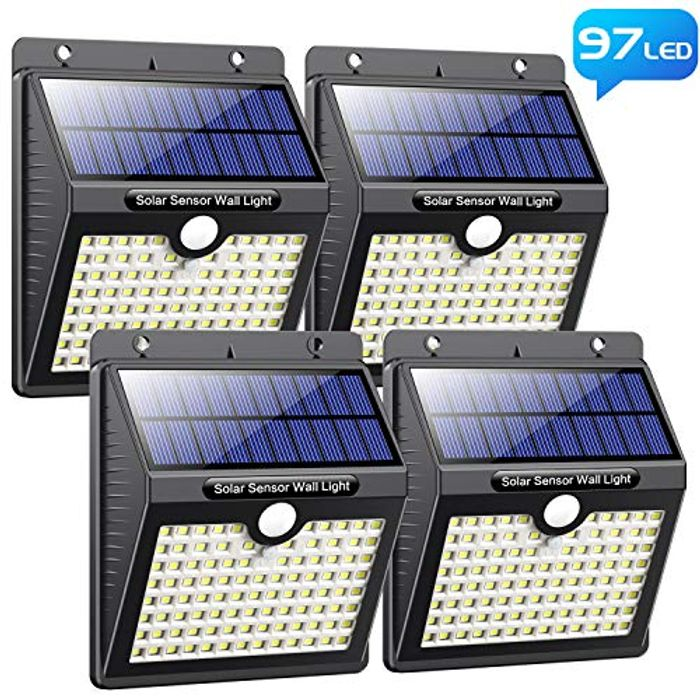 Solar Lights Outdoor, Pxwaxpy [97 LED-4 Pack] Super Bright Solar Security Lights