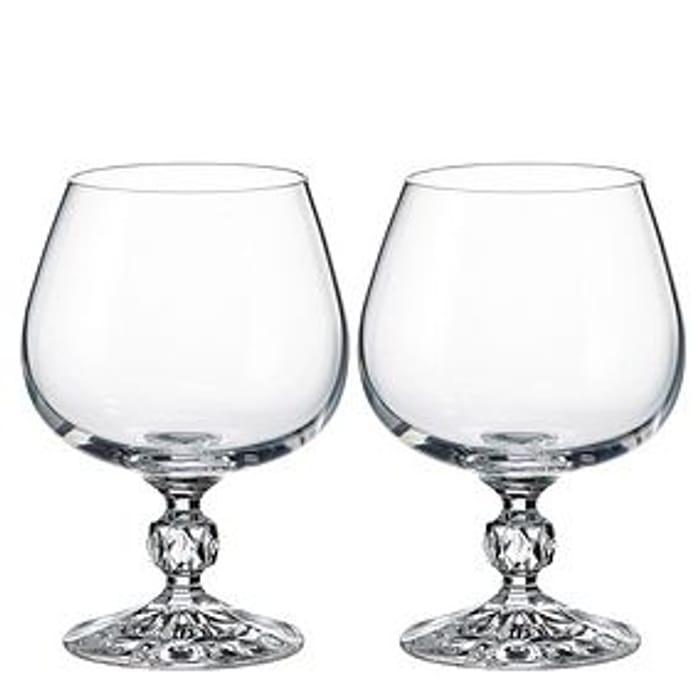 Set of 2 Crystal Cognac Glasses