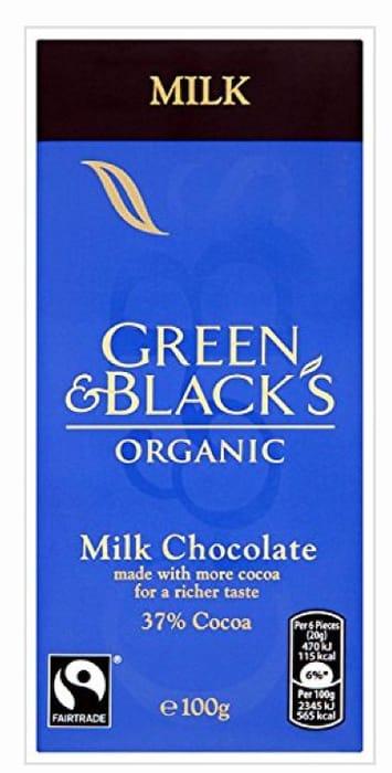 Green and Blacks Organic Cocoa Milk Chocolate Bar 100g - 2 for £1.50