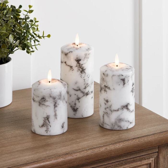 TruGlow Marble LED Pillar Candle Trio with Remote