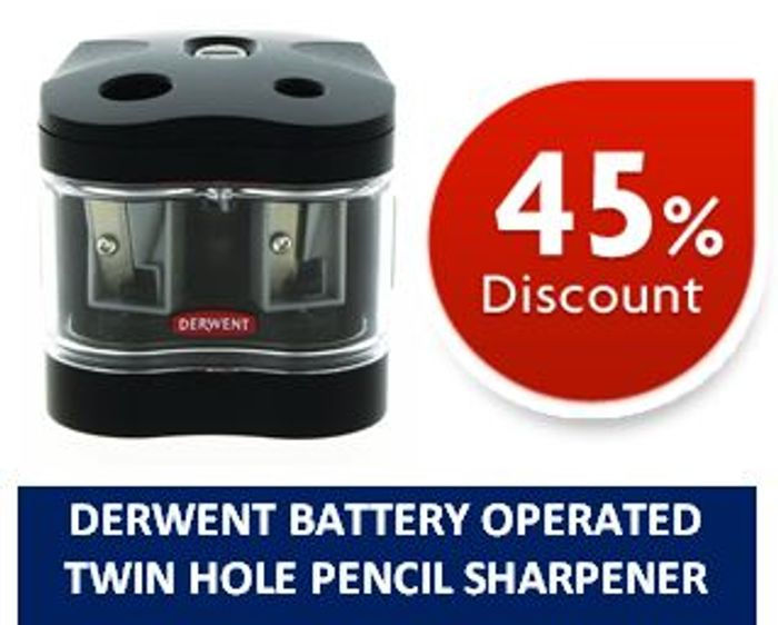 Derwent Battery Operated Pencil Sharpener - Twin Hole