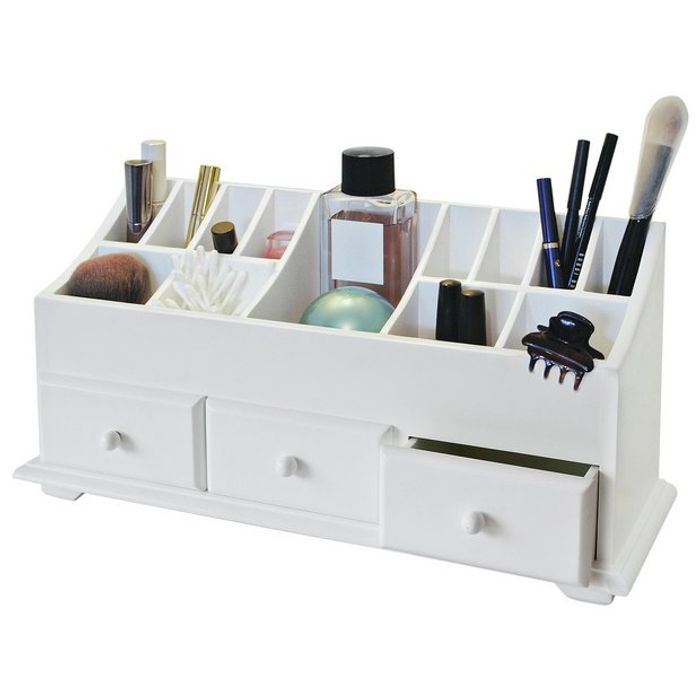 Argos Home 3 Drawer Cosmetics Caddy - White