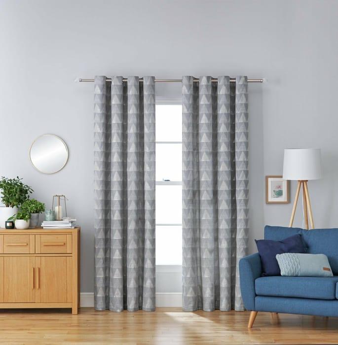 Stockholm Jacquard Eyelet Curtain - 168x183cm - Geometric