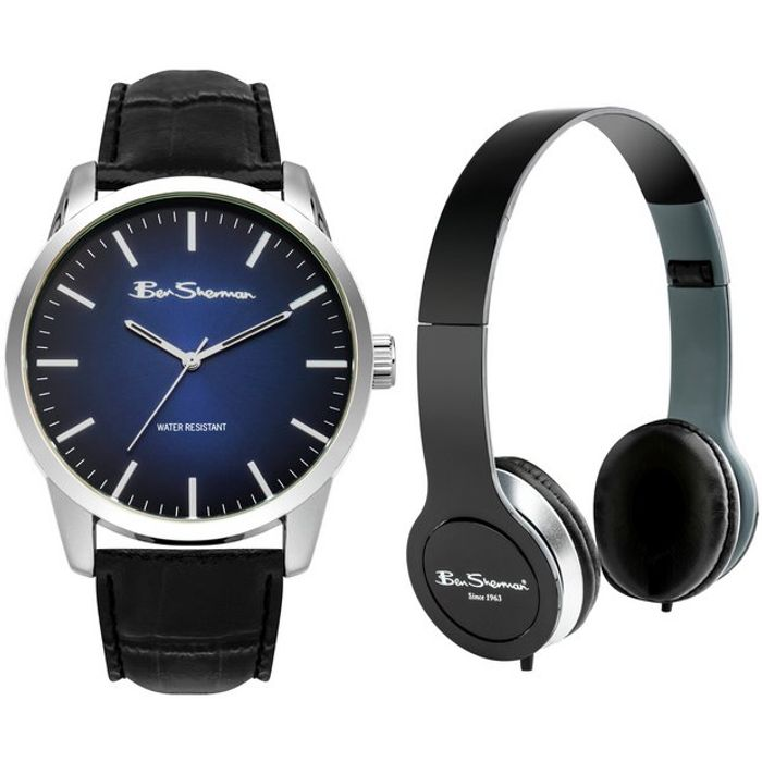 Ben Sherman Black Faux Leather Strap Watch and Headphone Set