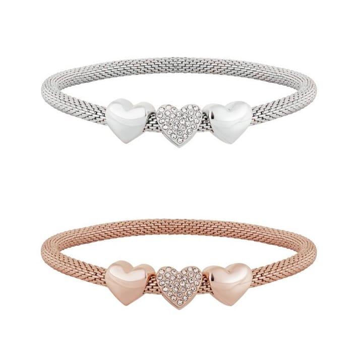 Lipsy Heart Mesh Bracelets - Pack of 2