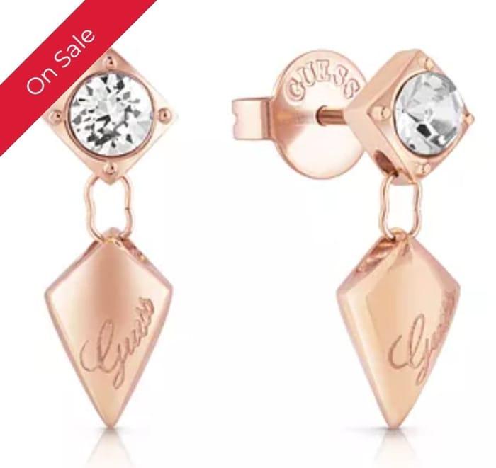 Guess Rose Gold Tone Swarovski Crystal Drop Earrings