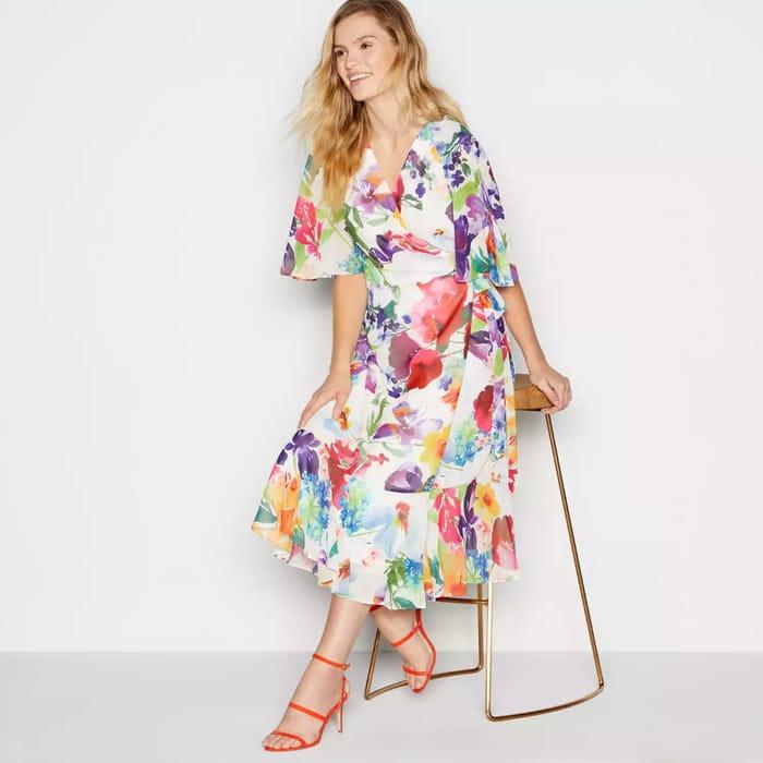No. 1 Jenny Packham - Multicoloured Floral Print 'Valentina' Midi Dress