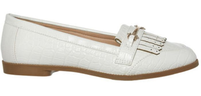 HEAD over HEELS by DUNE White Reptile Effect Loafers