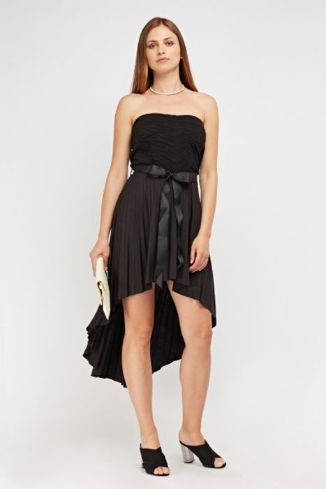Strapless Sweetheart Sheer Pleated Dress HALF PRICE
