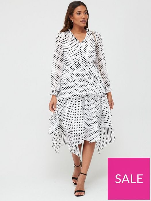 Polka Dot Tiered Dress Down From £55 to £17.36