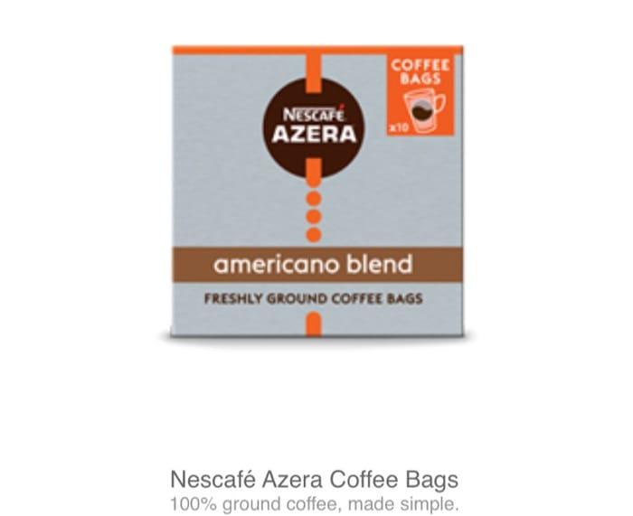 Best Price! Nescafe Azera Americano Coffee Bagsx10 Try for £1.50