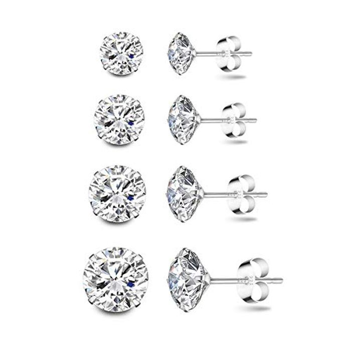 DEAL STACK - 4 Pairs 925 Sterling Silver Cubic Zirconia Earrings