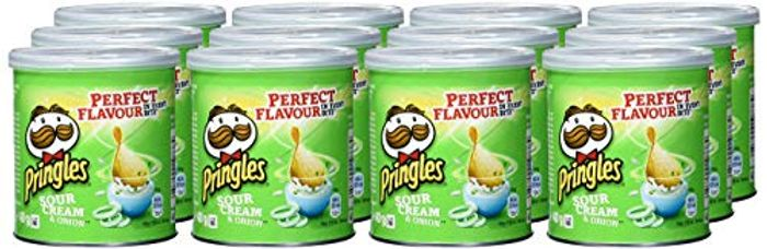 Pringles Sour Cream & Onion Crisps, 40g (Pack of 12)