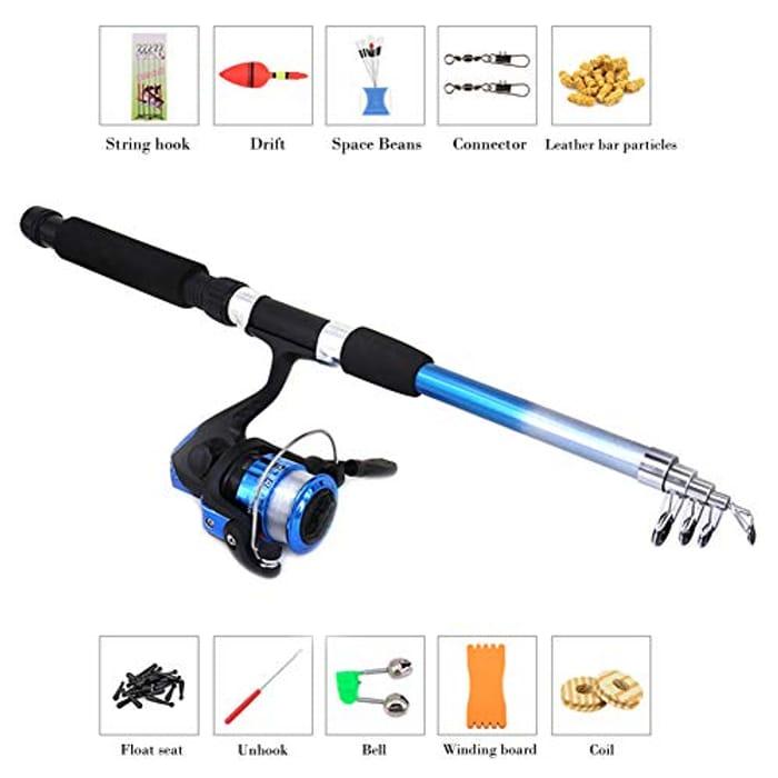 Fishing Rod Reel Set Kit with Line Travel Telescopic Beginners